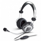 Hangszóró - Fejhallgató - Genius HS-04SU fekete mikrofonos fejhallgató