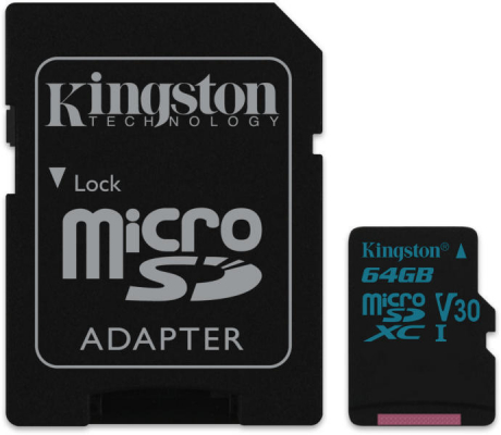 MicroSD - Kingston 64GB MicroSDXC  1Adapter UHS-I U3 SDCG2/64GB